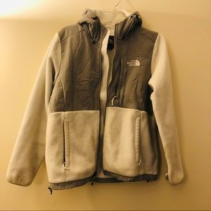 The North Face | white hooded fleece jacket